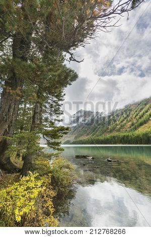 Medial Multinskiye Lake. Altai Mountains Autumn Landscape, Russia.