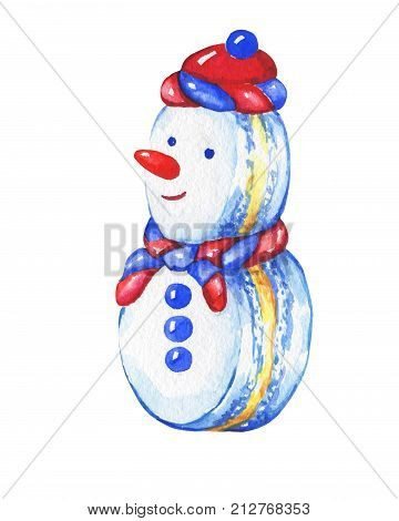 Snowman cupcake. Christmas decoration - greeting card, invitation. New Year. Snowman macaron. Snowman silhouette. Watercolor hand drawn painting illustration isolated on white background.
