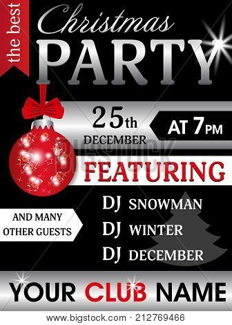 Black and silver template poster Christmas party and New Year with bauble. Holidays flyer design. Vector illustration.