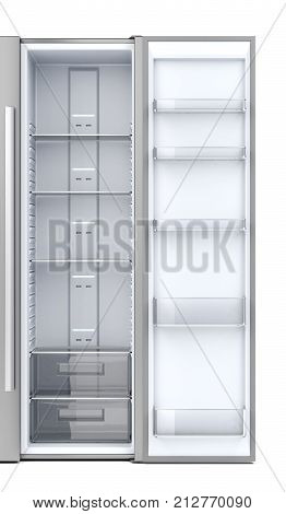 Opened door on empty side-by-side refrigerator, 3D illustration