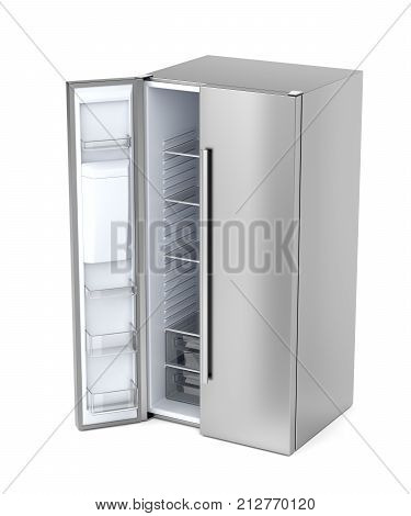Silver side-by-side refrigerator with opened door on white background, 3D illustration