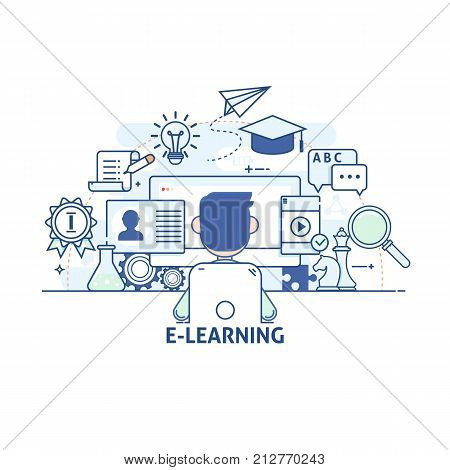 E-learning Online learning education concept.Modern thin linear stroke vector icons.