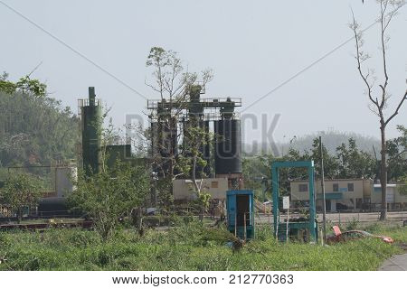 Old Refinery superstructure standing outside San Juan Puerto Rico