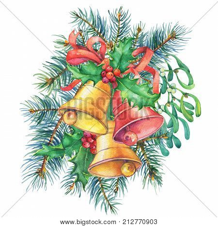 Banner with a Christmas tree, mistletoe, holly, bells. Christmas wreath. Christmas decoration - greeting card, invitation. New Year. Watercolor hand painting illustration isolated on white background.