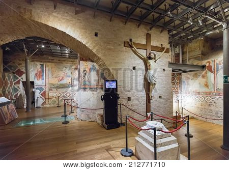 Siena Italy - April 04 2017: Crypt of Siena Cathedral with frescos of the 13th century