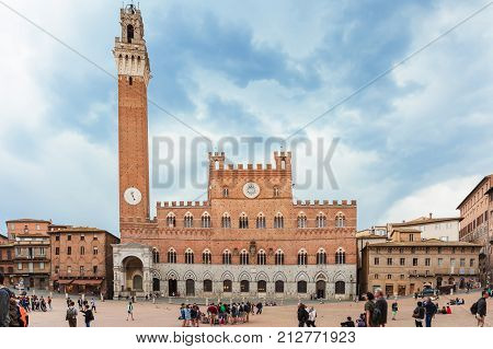 Siena Italy - April 04 2017: Piazza del Campo (Campo Square) the Mangia Tower of Siena