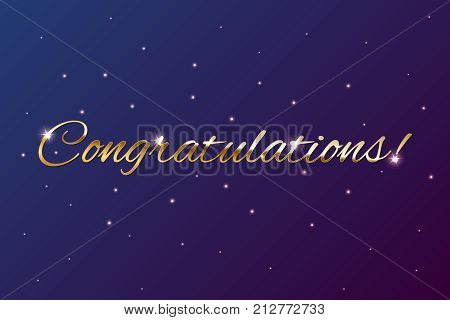 Congratulations golden sign on holiday background. Vector illustration
