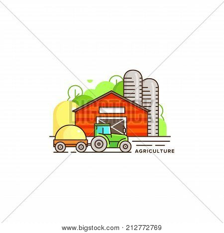 Farming vector flat illustration in linear design. The farm house and tractor with cut hay and farm landscape isolated on white background. Eco farming icon, logo flat vector concept stock vector.