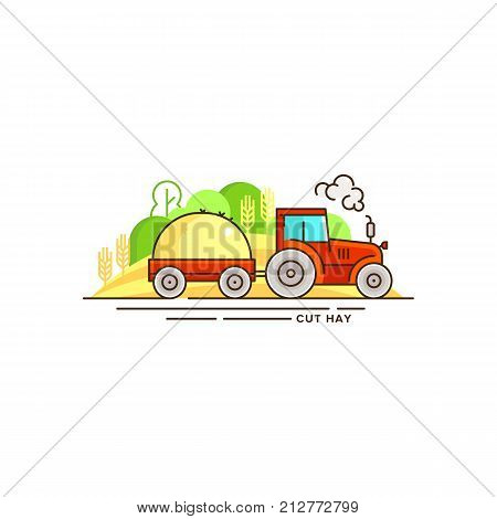 Farming vector flat illustration in linear design. The tractor with cut hay and farm landscape isolated on white background. Eco farming icon, logo flat vector concept stock vector.