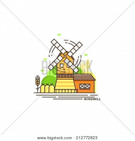 Farming vector flat illustration in linear design. The windmill and farm landscape isolated on white background. Eco farming icon, logo flat vector concept stock vector.