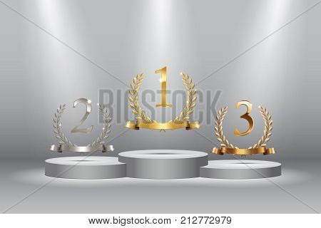 Winner background with golden, silver and bronze laurel wreaths with ribbons and first, second and third place signs on round pedestal isolated on blue. Vector winner podium sports symbols