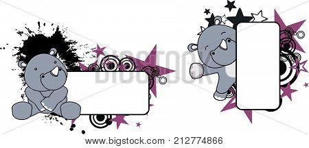 cute little rhino cartoon copyspace frame set in vector format very easy to edit