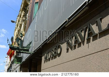MADRID - JUN. 6, 2013: Museo Naval in English Naval Museum is a part of Minister of Defence in Madrid, Spain. This museum displays famous model ships in Spanish history.