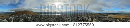 360 Degree Panorama On A Subpeak Of The Mountain Hovaerken In Sweden