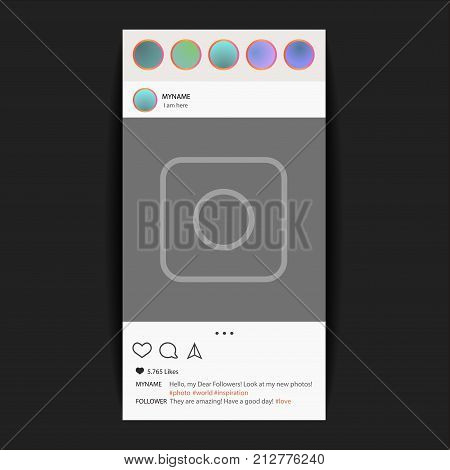 Instagram. Photo frame vector for application. Social Media concept and interface
