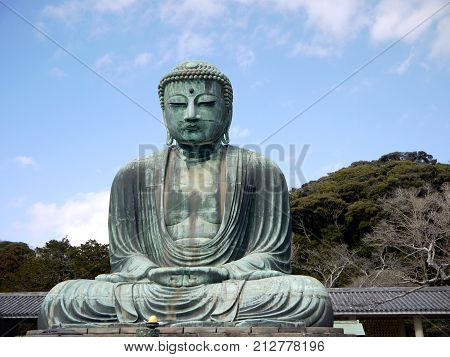 Daibutsu, the big statue od Buddha in Kamakura, Japan