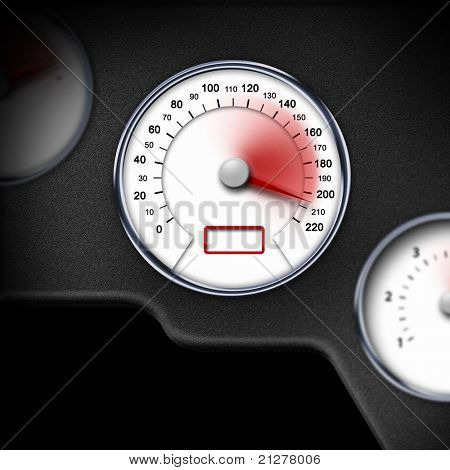 color picture of speedometer on a car dashbpard