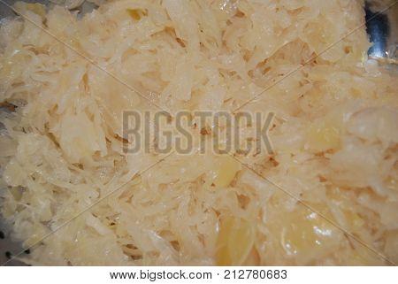 White sauerkraut comprised of cabbage and salt.