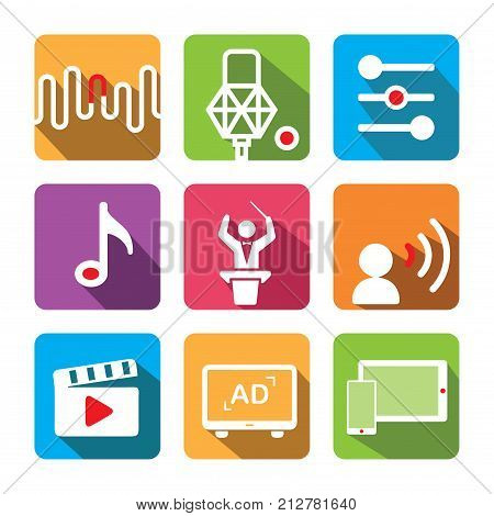 Music icon set. Including: Tune, recording microphone, equalizer, music note, conductor, voice over, film, advertisement, tablet, smart phone