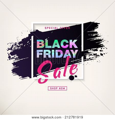 Black Friday Sale Poster with silver text. Modern concept for cover design. Sale Discount banner. Advertising design for flyer, presentation, gift card, brochure, magazine, mockup, booklet, ad. Vector