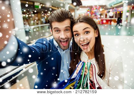 It's Shopping Time With Crazy Sales, Fun And Joy. Selfie Portrait Of Cheerful Successful Happy Young