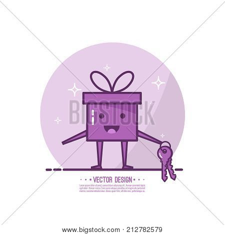 Bright color gift box. Trendy vector icon giftbox with ribbons and sparkly. Emotional gift box with key, smiling and happy. Emoji.