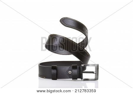 Dark brown leather belt a nice men accessory isolated on white background
