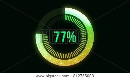 Science Futuristic Loading Circle Ring. Loading Transfer Download Animation 0-100 in blue science effect. Light blue loading futuristic circle ring orb bar animation on black screen. Loading Animation from 0 till 100 percents HD
