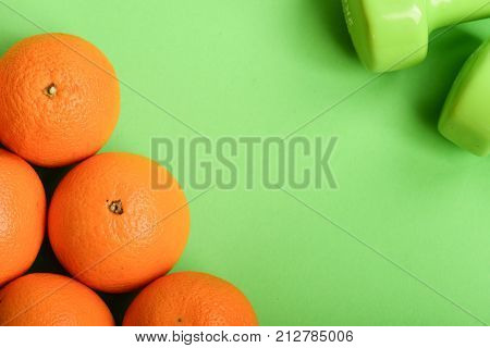 Sports And Healthy Lifestyle Symbols. Pattern Made Of Orange Fruits
