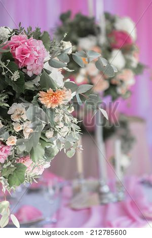Nice flower arrangement for an event party or wedding reception