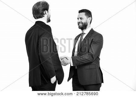 Happy Men In Jacket Hold Hands Each Other In Handshake