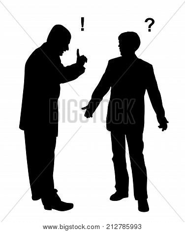 Two businessmen arguing. Isolated white background. EPS file available.