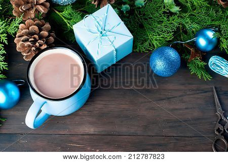 Fir   Bumps Cones, Cocoa In Blue Cup  On The Dark Wooden Background