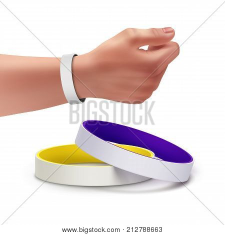 Vector colorful blank rubber bracelets and bracelet on the hand. Isolated on white background