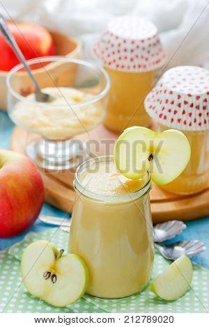 Healthy baby food apple sauce in a jar