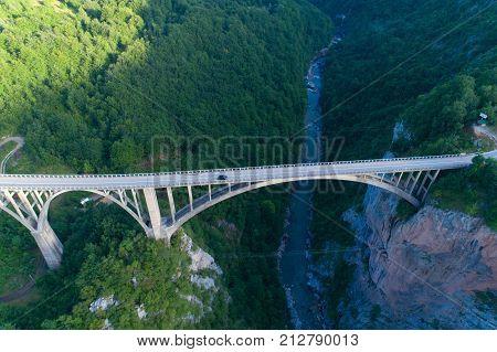 aerial view of Durdevica Bridge over Tara Canyon in Montenegro