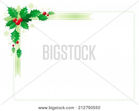 Merry Christmas and Happy new Year corner horizontal frame banner with holly berry leafs. Isolated on white background. Abstract poster, greeting card design template. Vector illustration