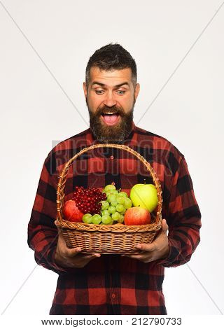Farmer With Excited Face Presents Apples, Grapes And Cranberries