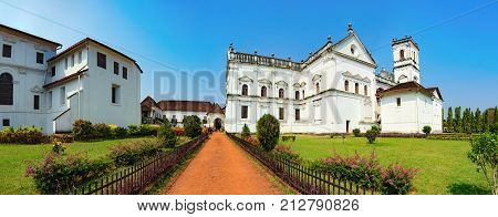 Catedral de Santa Catarina known as SE Cathedral and Archbishop's Palace in Old Goa, India. The view from the road to the courtyard