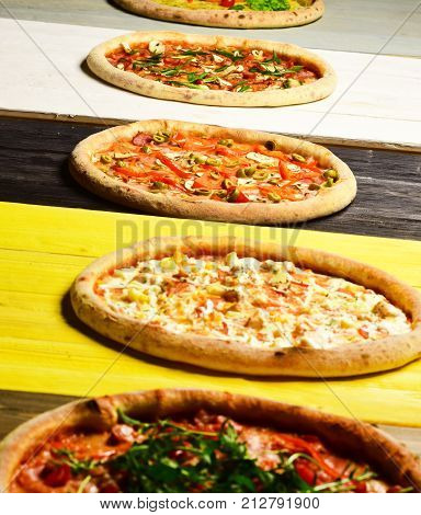 Different Pizzas Set For Menu. Pizza Circles With Meat, Mushrooms,