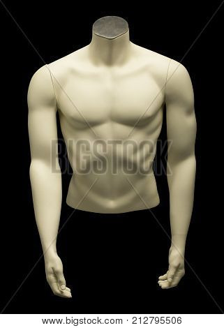 Mannequin Of Naked Male Torso On Black Background