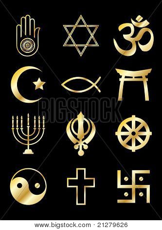 A set of Religious symbols. Gold isolated on black. Also available in vector format.