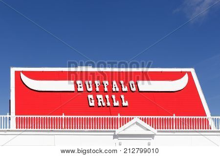 Limonest, France - October7, 2017: Buffalo grill restaurant. Buffalo Grill is a chain of steakhouses based in France, with over 328 outlets in Europe. Most of these outlets are located in France