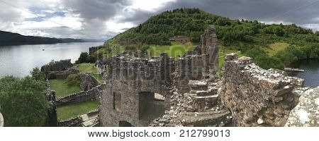 Drumnadrochit Inverness/United Kingdom - August 8 2017: Urquhart Castle in Drumnadrochit Inverness in the United Kingdom