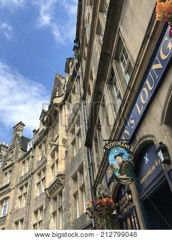 EDINBURGH SCOTLAND/UNITED KINGDOM - AUGUST 10 2017: Scotsman's Lounge and architecture in Edinburgh Capital of Scotland United Kingdom