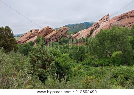 red sandstone rock formations and scenery of red rocks park in jefferson county colorado