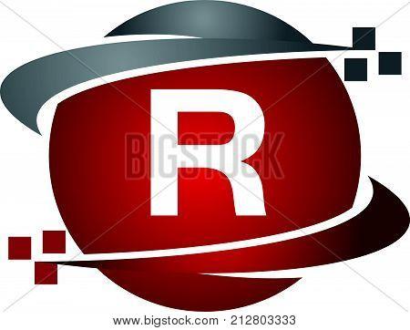 Technology Transfer Letter R Logo Design Template Vector