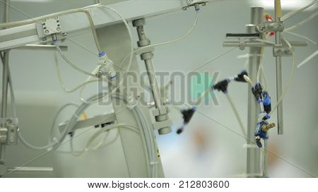 Ophthalmic equipment. Medical laboratory. medical equipment. Gas mixer. Stylized video. complex of medical equipment at work. tubes. Selective focus. Science and medicine