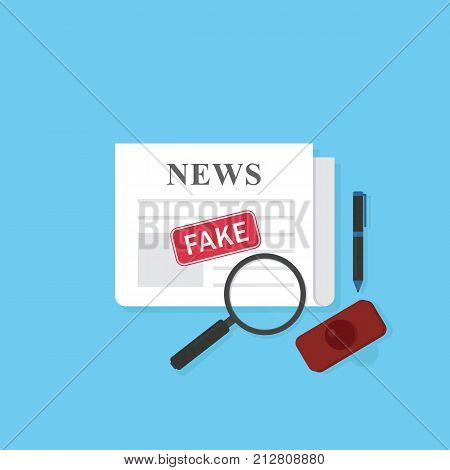 Newspaper with fake news stamp and stationary. Hoax concept. Flat design of newspaper with fake news label and magnifying glass