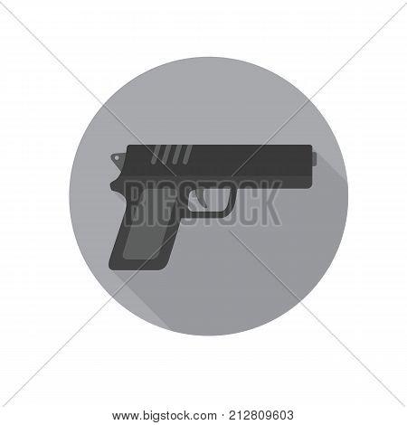 Flat design of pistol, gun, handgun, revolver icon illustration, military weapon concept